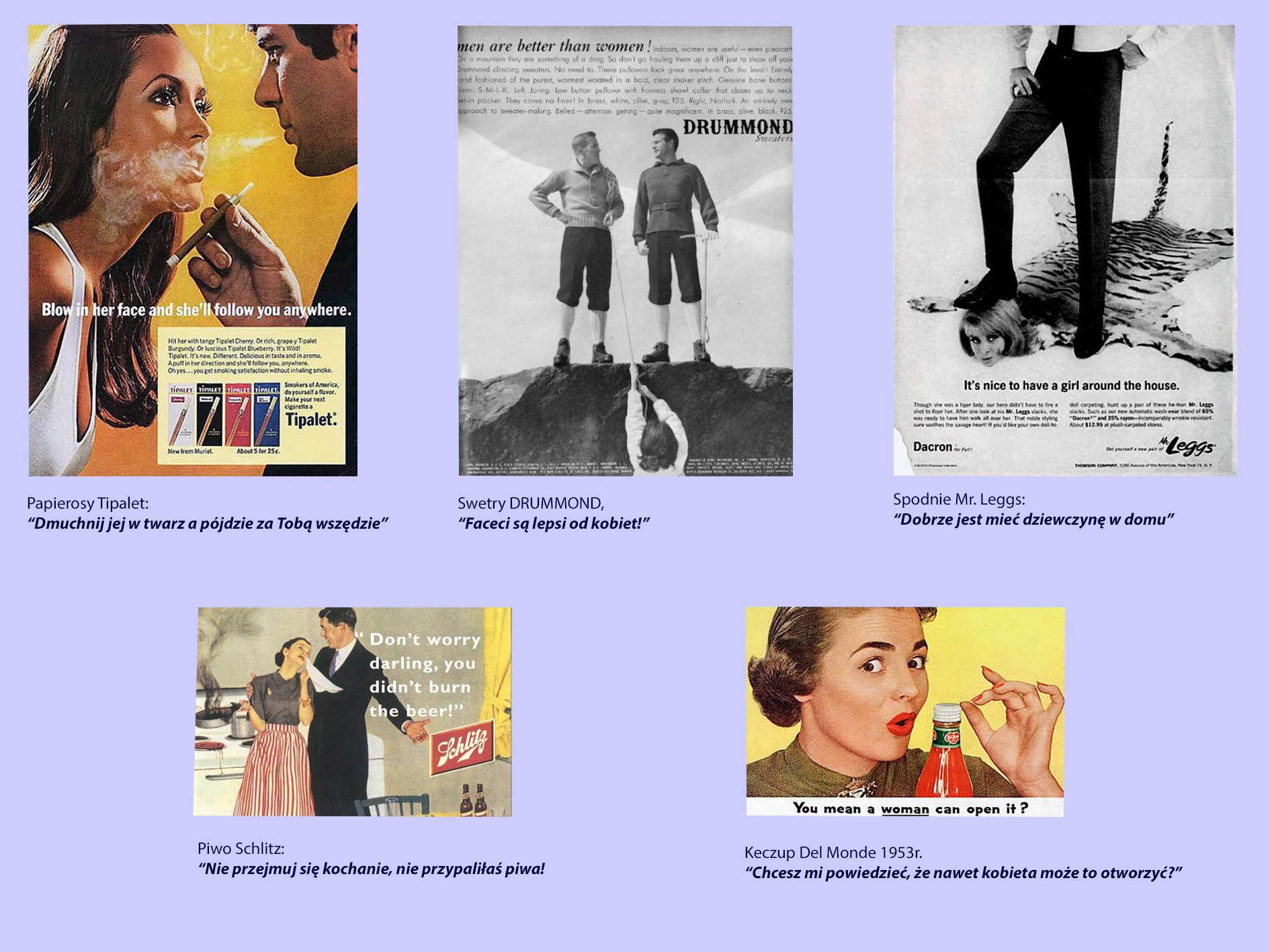 Seksistowskie reklamy z kobietami , kiedyś